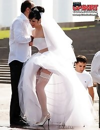 Hot bride flashed white panty up skirt