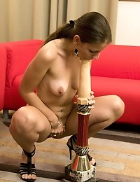 Cute brunette babe sucks and fucks a dildo