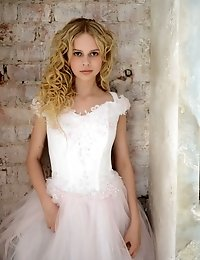 Stunning Blonde Teen Celebrates Her Early Marriage With Stripping Her Bride Clothes And Shows Some O