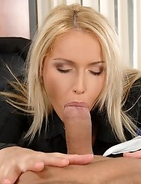 Horny blonde secretary gets a good anal fuck