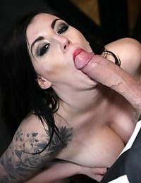 Naughty raven haired babes love blowing hard cock