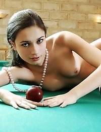 Watch Great Pictures Of A Lewd Gorgeous Brunette Playing Billiards Wearing Only Black-white Striped