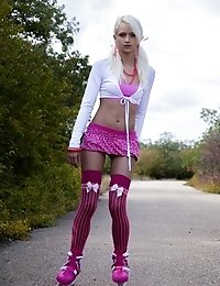 A Great Solo Teasing In Mind Blowing Pink Lingerie, In The Middle Of The Road Done By This Gorgeous