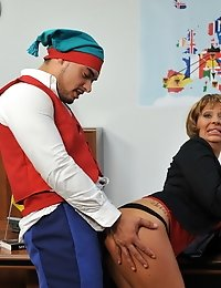 Luscious blonde gets drilled on the office table