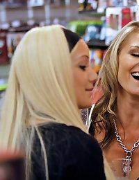 Lovely Blondes fingering and fondling at the store