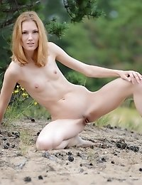 This Skinny Teen Beauty Drops Her Tight Booty In The Sand And Does Some Amazing Poses To Show Her St