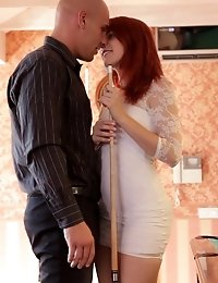 Horny Redhead Amarna Miller Gives A Deep Throat Blowjob And Then Gets Her Red Haired Pussy Filled An