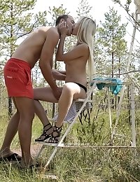 Luscious Blonde Babe Olivia Devine Seduces Her Man Outside With A Striptease Followed By A Horny Fuc