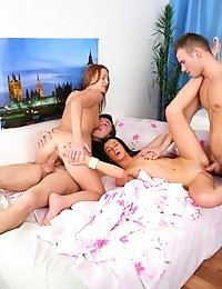 Gina And Trisha And Two Studs Are Having A Wild Orgy.