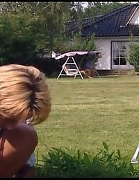 Tight blonde getting intense drilling in the yard