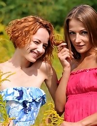 Hot Lesbians Take A Tour In Nature To Brighten Up Their Sexy Striptease That They Do In The Grass, H