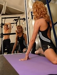 Petite athletic blonde takes it rough at the gym