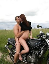 Virgin Brunette Gets It On With A Biker Outdoors