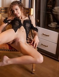 Sweet Sassy Curly Haired Model Is Proud To Show You What An Amazing Tight Little Pussy She Has Betwe