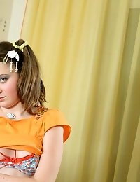 This Fabulous Sweet Teen Often Likes To Have Some Little Masturbation On Her Fawny Sofa And Now She