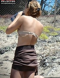 Wild beach - even there sexy upskirts can be spyed