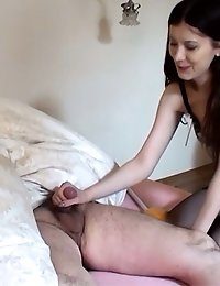 Kinky maid waking up her landlord with a handjob
