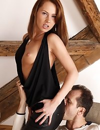 Brown haired hotie gets eaten sitting on guys face