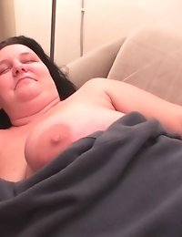 Chubby German housewife toying her wet pussy
