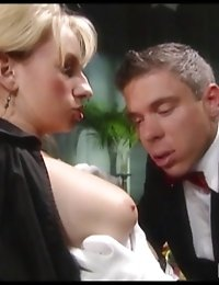 Naughty cock hungry house maid sucking the butler