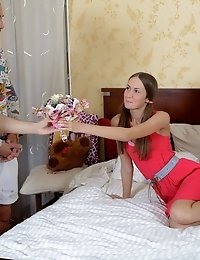 Horny Karina Deflowered In Threesome.