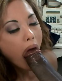Asian chick tries sucking black guy's cock