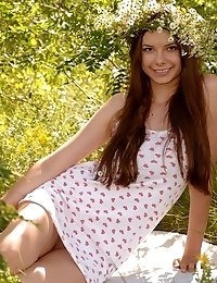 Adorable Teen With A Wreath In Excellent Long Hair Undressing And Showing Body In The Woods.
