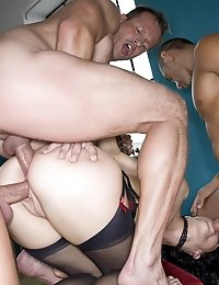 Dirty British slut Aliz destroyed in a gangbang