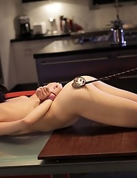 Elle Alexandra Ties Down Aiden Ashley And Then Dominates Her With A Riding Crop And A Long Pussy Lic