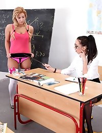 Teacher and student inserting big foreign objects