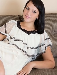 Delightful Shapely Brunette Bombshell Taking Off Clothes And Spreading Legs On The Sofa.