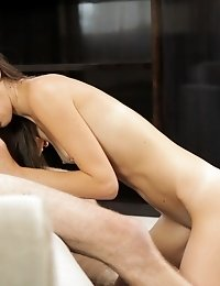 Tall Cutie Yozi Plays With Her Bald Pussy In The Shower And Then Runs To Her Lover And Takes Him In