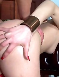 Hot redhead in red stockings gets assfucked rough