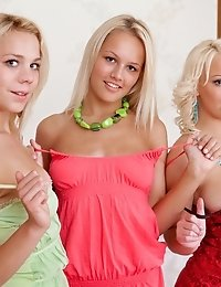 Three Gorgeous Blonde Lesbian Teen Cuties Taking Off Clothes And Spreading Legs On The Bed.