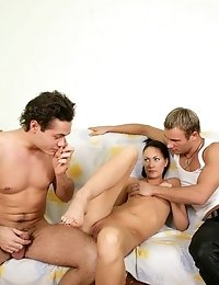 Hot Young Babe Loses Her Innocence With Two Guys