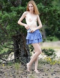 Nature Calls Her To Drop That Blue Dress And Show Off Some Of Her Teen Sexiness And Those Small Tits