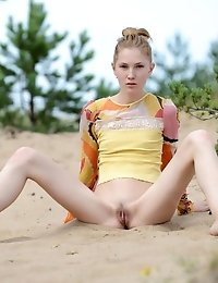 The Hot Sun And Sand Burns Her Hot Teen Booty As She Slowly Takes Off Every One Of Her Clothes And S