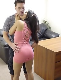 Lusty Teen Megan Rain Seduces Her Boss With A Deep Throat Blowjob And A Stiffie Ride In Her Slick Ba