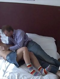 Dirty older man banging hot teen in the hotel room