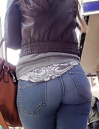 Girls butts in sexy jeans and panty
