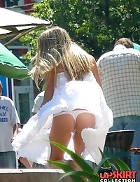 Thong up sexy dress of peeked young girl