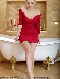 Wonderful Busty Teen Girl Stripping Red Dress And Washing Her Compelling Body In The Bath.