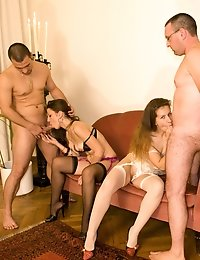 Two hot sluts get fucked by two guys