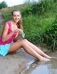 Super Good Looking Slender Blonde Girlfriend Enjoying The Refreshing Water In Nature. Good Start To