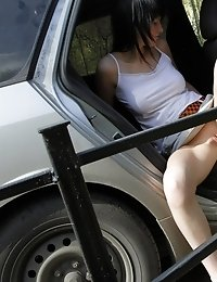 Nasty car upskirt