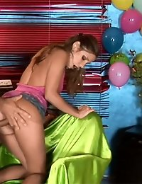 Lovely teen ridding a nasty dude for his birthday