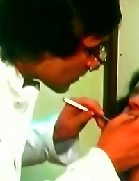 The dentist works on babe while she rides on cock