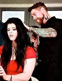 Busty brunette Lucia fisted hard by a tattooed guy