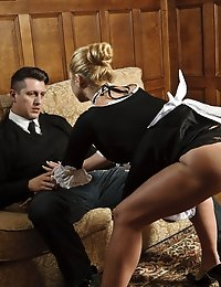 Gorgeous blonde maid seducing the security guard