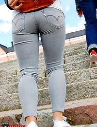 Exclusive amateur tight jeans asses